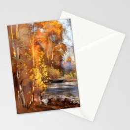 Autumn on the river Stationery Cards