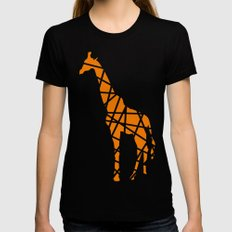 Modern Orange Giraffe Womens Fitted Tee Black MEDIUM