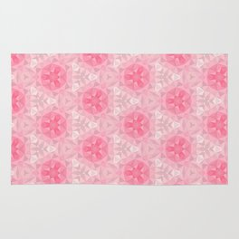Pink and White Pattern Rug