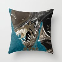 aliens Throw Pillows featuring Aliens by OzoneO3
