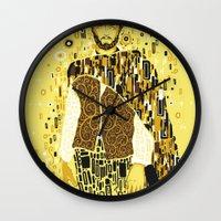 klimt Wall Clocks featuring Klimt Eastwood by Frederick Hoffman