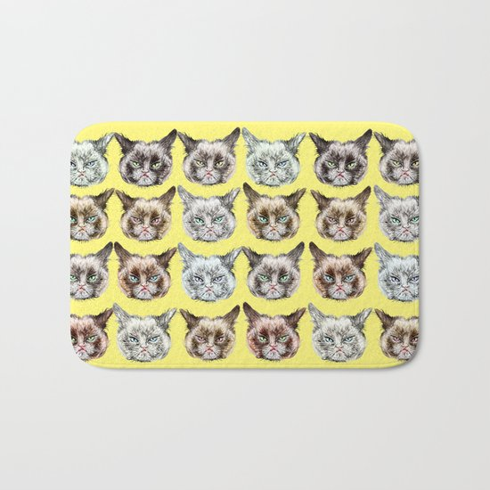 Cats Cats Cats on Yellow Bath Mat