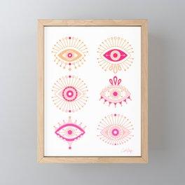 Evil Eyes – Pink Ombré Palette Framed Mini Art Print