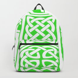 St Patrick's Day Celtic Cross Green and White Backpack