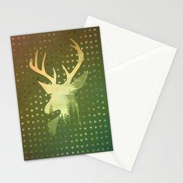 Golden Deer Abstract Footprints Landscape Design Stationery Cards