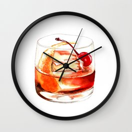 Cocktails. Old Fashioned. Watercolor Painting. Wall Clock