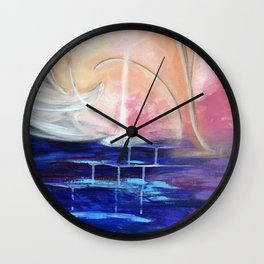 Flourescent Waterfall Painting. Waterfall, Abstract, Blue, Pink. Water. Jodilynpaintings. Wall Clock