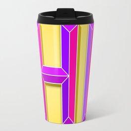 """HI"" 3D Letters (Yellow, Purple & Hot Pink) Travel Mug"