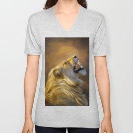 Roaring lion portrait Unisex V-Neck