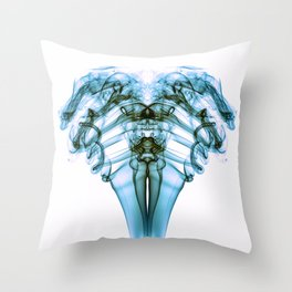 Smoke Ram- Turquoise on White Throw Pillow