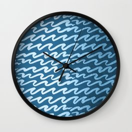Abstract Waves - Blue Raspberry Shimmer on Saltwater Taffy Teal Wall Clock