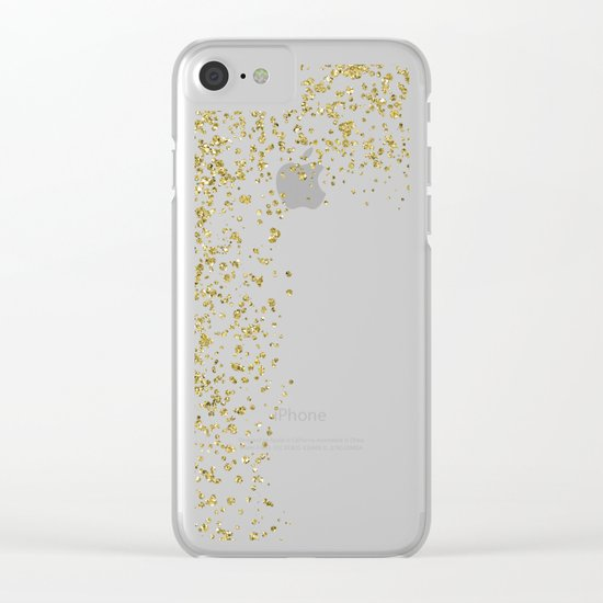 Sparkling gold glitter confetti on white backround- Pattern Clear iPhone Case