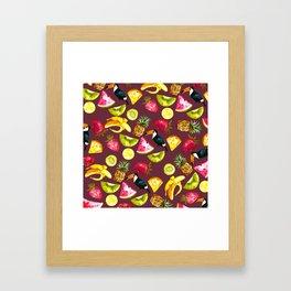 Burgundy yellow pink watercolor tropical bird fruit Framed Art Print