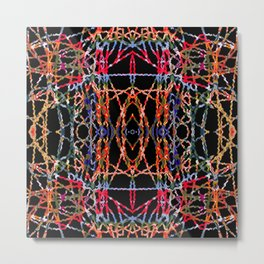 Multi Color Stringy Waves On Black Metal Print