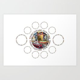 Times Square New York City (multi badge emblem) Art Print