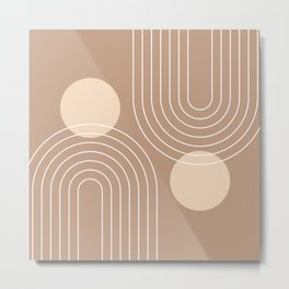 Mid Century Modern Geometric 74 in Beige Brown (Rainbow and Sun Abstraction) Metal Print