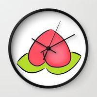 peach Wall Clocks featuring Peach by Eriboo