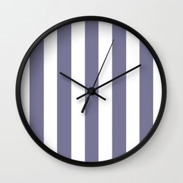 Rhythm grey - solid color - white vertical lines pattern Wall Clock
