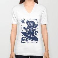 hindu V-neck T-shirts featuring Ganesha surfer. Hindu God Ganesha. Summer illustration. by Katyau