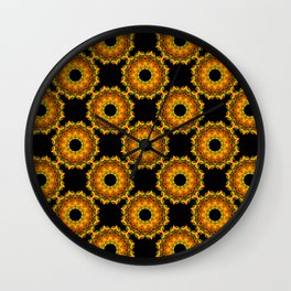 Sunflowers - Black and Gold Autumn Floral Mandala Fractals - Moroccan style Wall Clock