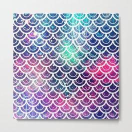 Mermaid Scales Pink Turquoise Blue Metal Print