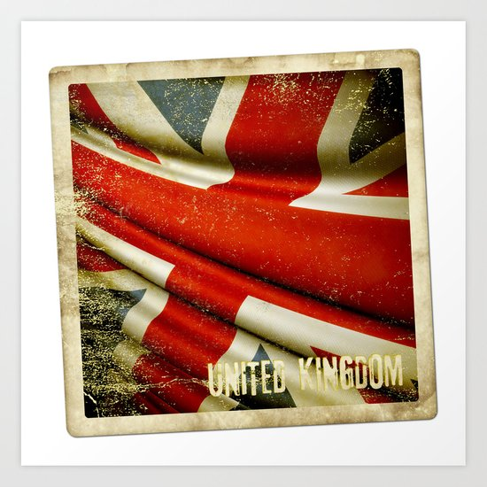 Sticker with UK flag Art Print