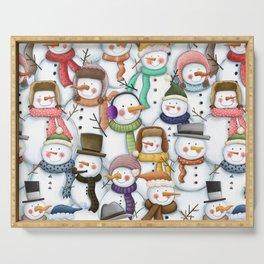 Happy Snowmen Pattern Serving Tray
