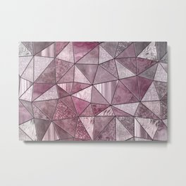 Pink Red Glamour Marble Shiny Stained Glass Design Metal Print