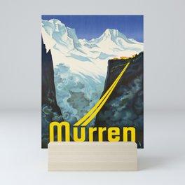 retro vintage murren bergbahn schweiz poster Mini Art Print