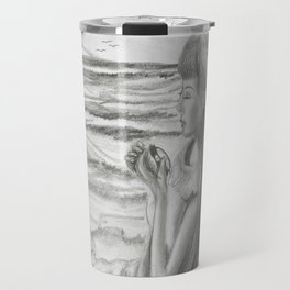 A Cool, Quieting Thought (Girl by tree on the beach) Travel Mug