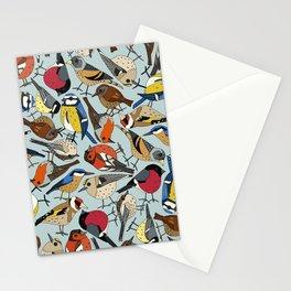 winter garden birds celadon blue Stationery Cards