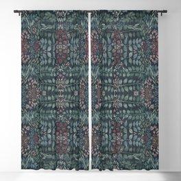 Bloomartgallery_dark blue retro deco florals Blackout Curtain