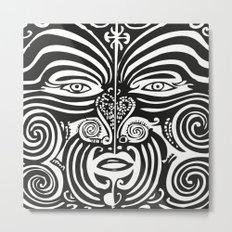 Maori Moko | Tribal Tattoo | New Zealand | Black and White Metal Print