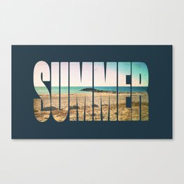 Summer - Frontignan beach in southern france - seascape Canvas Print