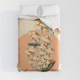 Orange Mushroom Bloom Vintage Illustration Drawing of Fungi on a Simple and Basic Background Duvet Cover