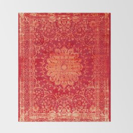 N69 - Oriental Heritage Vintage Orange Traditional Moroccan Farmhouse Style Artwork Throw Blanket