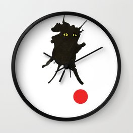 cat with ball #2 Wall Clock