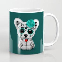 Teal Blue Day of the Dead Sugar Skull Polar Bear Coffee Mug