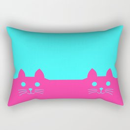 Meow Cat Pink Blue Rectangular Pillow
