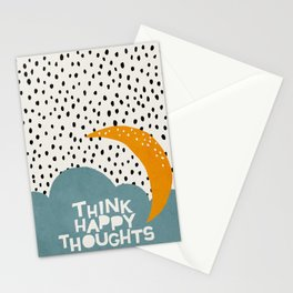 Mid century illustration cloud and quote Stationery Cards