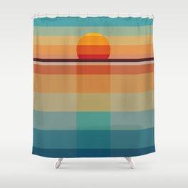 Geometric sunset Shower Curtain