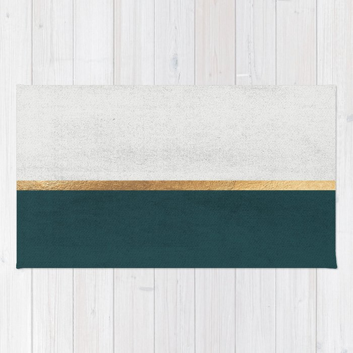 Deep Green, Gold and White Color Block Rug