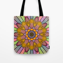 Pastel floral rainbow mandala Tote Bag