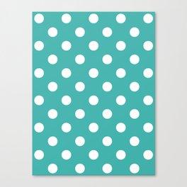 Polka Dots - White on Verdigris Canvas Print