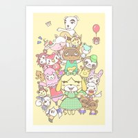 animal crossing Art Prints featuring Animal Crossing (yellow) by Siri