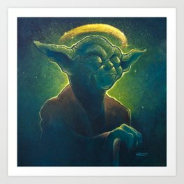 The Contemplation of Saint Yoda Art Print