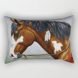 Bay Pinto Native American War Horse Rectangular Pillow