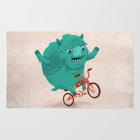 buffalo Area & Throw Rugs featuring Bicycle Buffalo by Chase Kunz