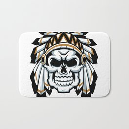 skull indian chief with feather hat Bath Mat