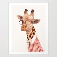 giraffe Art Prints featuring Giraffe by Animal Crew